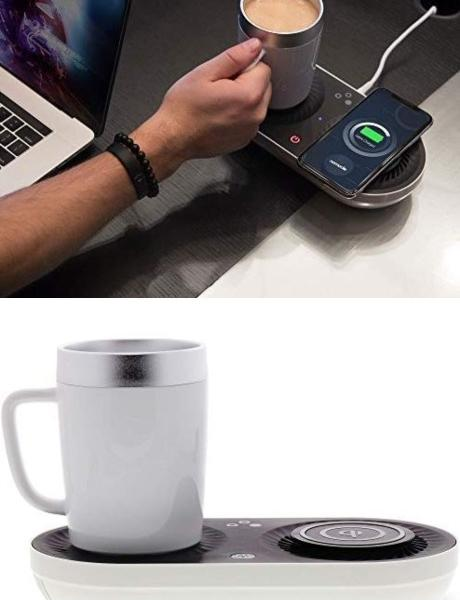 Nomodo Trio Wireless Smartphone Charger with Heating & Cooling Drink Plate