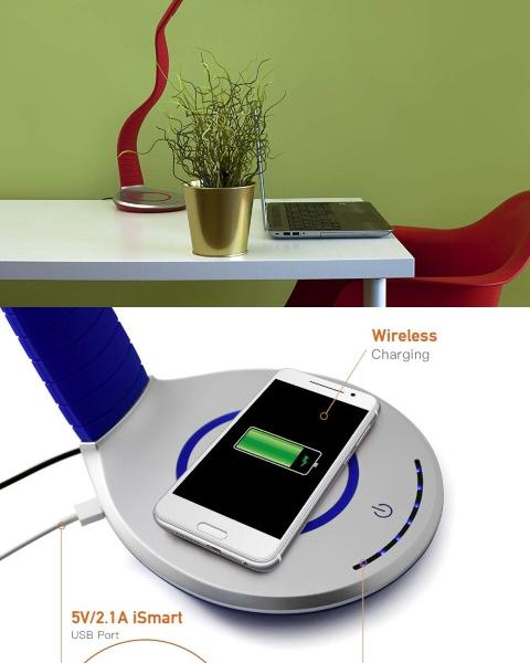 Luni Qi Wireless Charging LED Desk Lamp