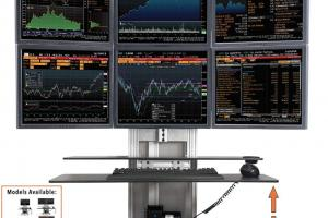 Stand Steady ErgoTech One Touch Electric Standing Desk Converter for Stock Traders, Designers