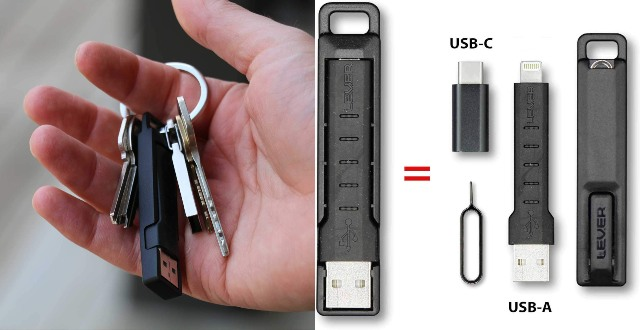 Lever Gear CableKit Keychain Charging/Data Cable